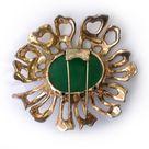Rosenstein Large Sterling, Faux Jade & Coral Enamel Flower Dress Clip