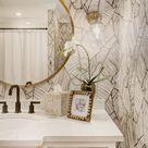 Guest Bathroom Refresh Palm Leaf Wallpaper Bathroom — Nicki Pasqualone