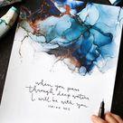 Isaiah 43:2 Bible verse wall art, alcohol ink painting, 8x10 fluid art