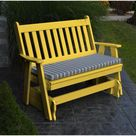 A & L Furniture Company Traditional English Recycled Plastic 5ft. Glider Chair - Lemon Yellow