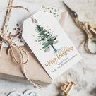 Christmas tags printable, christmas gift tags, holiday favor tags, christmas tree, instant download
