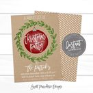 Christmas Party Invitation template, Editable Kraft Merry little Christmas Invitation, Company party or flyer, , Instant Download