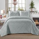 Ruffles Embossed Quilted 3piece Bedding Set - Super King / Silver