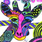 Kids Art:  Giraffes (With Some Very Unique Markings)