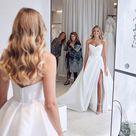 A line Strapless Satin White Thigh Split Wedding Dresses CBD083