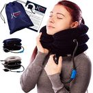 Pinched Nerve Neck Stretcher Cervical Traction Device for Home Pain Treatment | Inflatable Spinal Decompression Collar Unit Muscle Strain Injury Relief | Herniated Disc Problems Remedy Kit - Blue