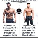 Home Workouts Follow @its gymtime Push ups 3 x 15 Squats 4 x 15 Pull ups 4 x 8 Leg raises 4 x 10 Push ups 4 x 15 Chin ups 4 x 10 Crunches 4 x 15 Plank 3 x 30sec For those of you who have no gym access - For those of you who have no gym access  - iFunny :)