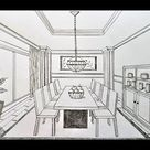 How to draw a dining room in 1 point perspective