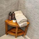 Corner Wood Bath Spa Shower Stool Table Bench Shelf Storage Fully Assembled 15