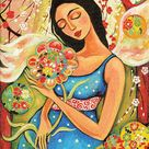 pregnant mother, expecting mother, mother child, maternity, pregnancy, motherhood art, nursery, mother and baby print