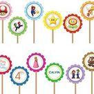 Super Mario Bros Luigi Yoshi- Printable DIY Custom Party Circle Cupcake Toppers