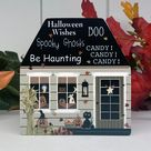 4 Inch Fall House, Halloween Wishes, Green Gray House, Fall House Block, Halloween House, Tier Tray Decor, Boo, Spooky Ghosts, Pat Isaac
