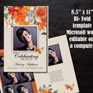 Funeral Program Template 8 pages | BiFold Funeral Program | Memorial Program Template | Orange Flowers with Cream BG