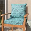 Mistana™ Tropical Corded Deep Indoor/Outdoor Seat/Back Cushion in Blue, Size 5.0 H x 27.0 W x 29.0 D in | Wayfair