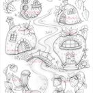 Strawberries Coloring Pages, Digital stamp, Digi, House, Home, Fairy, Village, Wild Strawberry, Crafting, Craft. Strawberry houses valley