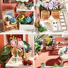 WYD 3D Puzzle Creative Children's Birthday Gift DIY Wooden Doll House LED Light Assembly Tool Gypsophila Flower House