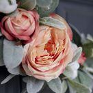 Lamb's Ear and Rose Asymmetrical Spring Wreath | DIY Faux Floral Wreath