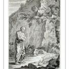 A1 Poster. Man in classical dress contemplating a skeleton