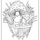 Printable Mushrooms Adult Coloring Page   02