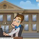A Male Stockbroker Speaks To A Client While At Work And Exterior Of A Large City Bank Background