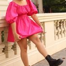 Casual Outfit Puff-sleeved Pink Poplin Dress