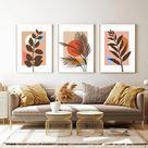 Abstract Botanical Printable Wall Art Set of 3 Prints | Etsy
