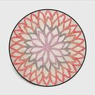 Floral Dynasty Round Rug Collection - Pink / 80cm x 80cm