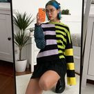 Goth Dark Vintage Gothic Colorful Striped Sweaters E-Girl Harajuku Punk Fashion Color Blocking Aesthetic Pullovers For Women
