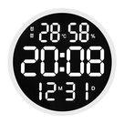 12 Zoll runde stille elektronische Uhr Grossschrift Digitalanzeige Temperatur Luftfeuchtigkeit Datumskalender Einfache Wanduhr