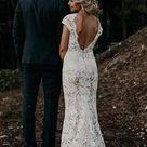 Charming Mermaid Lace Ivory Cap Sleeves Wedding Dresses, Bridal Dresses,MW481