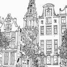 Tekening Zuiderkerk Amsterdam Pentekening Lijntekening van Hendrik-Jan Kornelis op canvas, behang en meer