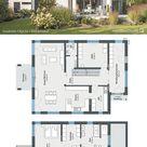 Moderne Stadtvilla mit Walmdach, Putz Fassade & Balkon bauen, Haus Grundriss mit gerade Treppe