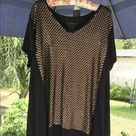 Chico's Black Matte Gold Sequin High Low  Top