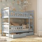 Wooden Bunk Bed Harry with Storage - Grey Matt / Without Mattresses