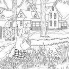Beautiful Houses Bundle -  10 Printable Adult Coloring Pages from Favoreads (Coloring book page for adults, Coloring sheet, Coloring design)