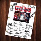 Captain America Civil War Signed Autographed Script Full   Etsy