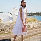 Poplin Ruffle Neck Dress in White