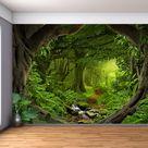 Fantasy Zauberhafter Wald - Großes Wand wandbild, selbstklebende Vinyl Tapete, Peel & Stick Stoff Wandsticker