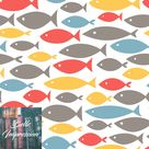 Small colorful fishes on white background