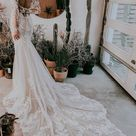 Sheer Floral Lace Wedding Dress With Long Sleeves   Kleinfeld Bridal