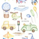 Transport Clipart, Watercolor Cute Car Clipart, Truck, Boat, Rocket, Bicycle, AirPlane, Helicopter