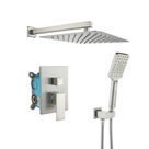 KINWELL Wall Mounted 12 In. Rain Shower Head Zero-Jets High Pressure Shower Combo w/ 2-Functions Shower System In Chrome Gray 86.0 x 12.0 in   W98102BN-12   Wayfair Canada