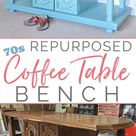Repurposed Chunky 70s Coffee Table Bench
