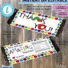 Teacher Appreciation Gift Editable Candy Bar Wrapper Teacher | Etsy