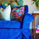 Blue Velvet IKEA Sectional Slipcover