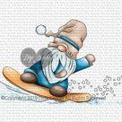 Digi Doodles Wrolin Snowbaording Gnome Digi Stamp