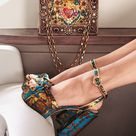 Floral-Jacquard Sandals With Leather Piping by Dolce & Gabbana