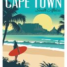 Cape Town South Africa Vintage Style Travel Poster