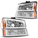 Headlight Assembly Compatible with 2003-2006 Chevy Avalanche / 2003-2007 Chevy Silverado 1500HD / 2003-2006 Chevy Silverado 2500HD Headlamp - Chrome Housing