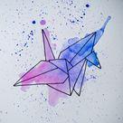 Watercolour Geometric Paper Crane Unframed Painting  Original | Etsy
